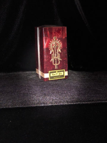 Dark Red Candle with Gold Lalibela Cross - Medium Size