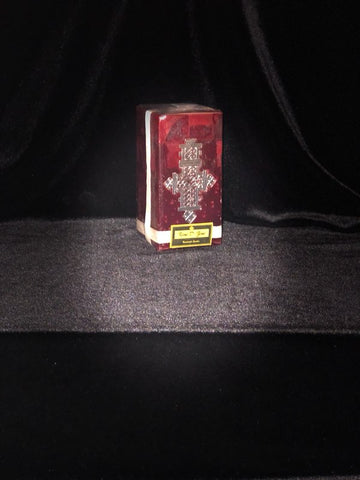 Dark Red Candle with Long Silver Cross - Medium Size