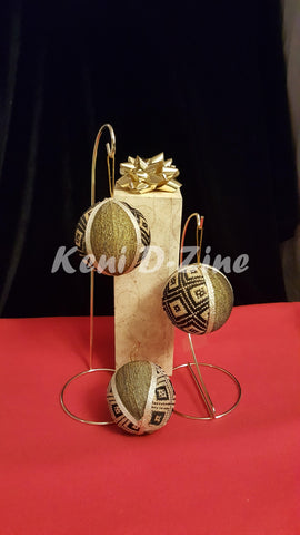 Handmade Ethiopian Inspired Christmas Ornaments - Gold_Black Set