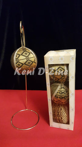 Handmade Ethiopian Inspired Christmas Ornaments - Gold Set