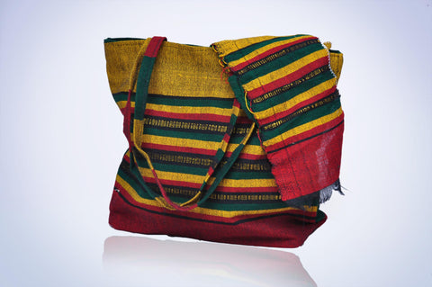 Golden Handbag with Multicolored Stripes