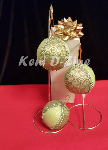 Handmade Ethiopian Inspired Christmas Ornaments - Green_Lime Set