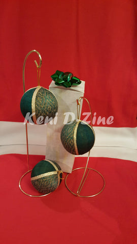 Handmade Ethiopian Inspired Christmas Ornaments - Green_Dark Set