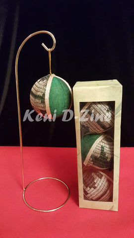 Handmade Ethiopian Inspired Christmas Ornaments - Green with White Set