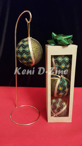 Handmade Ethiopian Inspired Christmas Ornaments - Green_Yellow Set