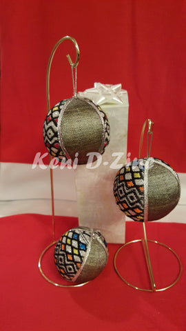 Handmade Ethiopian Inspired Christmas Ornaments - Grey Color Set