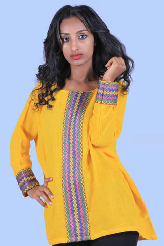 Hand-stitched Free Size Yellow Woman Tops with Tebebe - Designed by Hiwot Gashaw