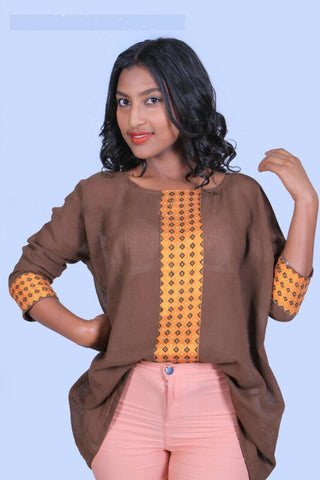Hand-stitched Free Size Brown Woman Tops with Tebebe - Designed by Hiwot Gashaw