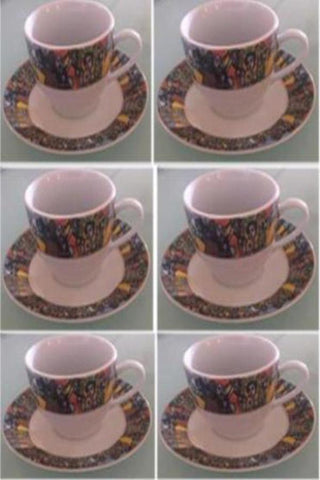 Ethiopian Ceramic Coffee Cups - 6 Piece Queen of Sheba Design