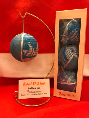 Handmade Ethiopian Inspired Christmas Ornaments - Light Blue Ornament Set