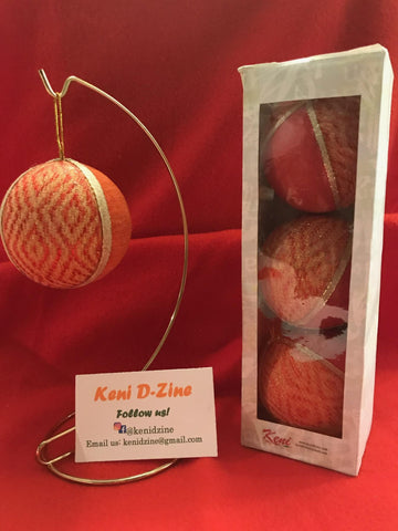Handmade Ethiopian Inspired Christmas Ornaments - Light Orange (Orange-pinkish) Ornaments Set
