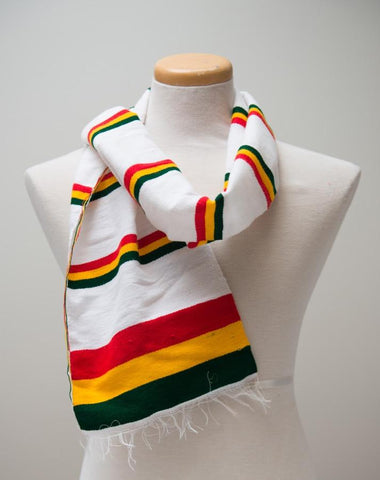 White Traditional Scarf with Flag Telete