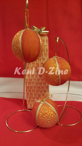 Handmade Ethiopian Inspired Christmas Ornaments - Orange Set
