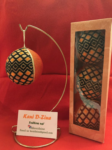 Handmade Ethiopian Inspired Christmas Ornaments - Orange Ornaments Set