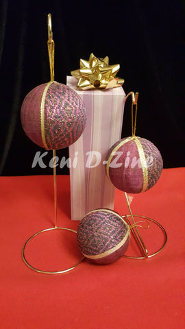 Handmade Ethiopian Inspired Christmas Ornaments - Purple Set