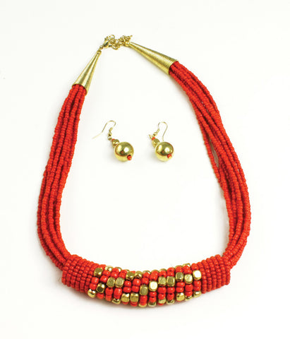 Beaded Barrel Necklace Set: Red