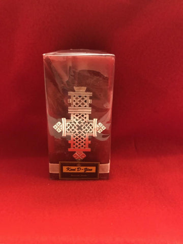 Red Candle with Silver Cross