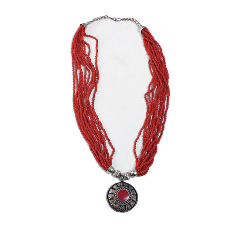 Ruby red beaded pendant necklace mesh cart ruby red beaded pendant necklace aloadofball Image collections