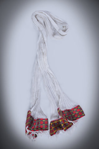 Traditional white scarf with colorful Tilet