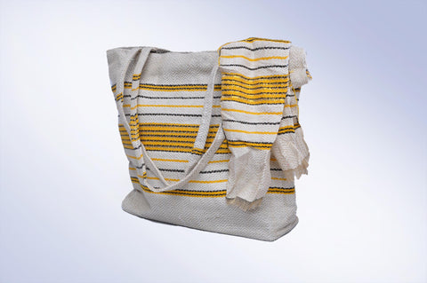 White Handbag with Yellow and Black Stripes
