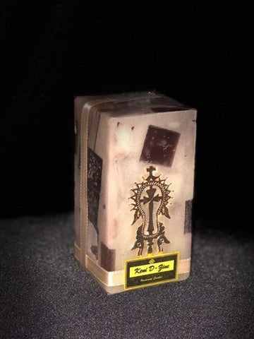 White & Brown Candle with Gold Lalibela Cross - Medium Size