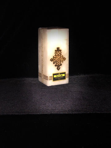 White Candle with Short Gold Cross - Large Size