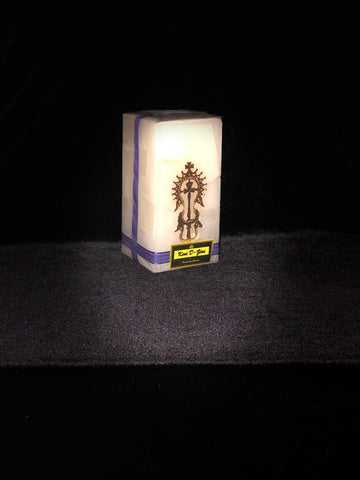 White Candle with Gold Lalibela Cross - Medium Size