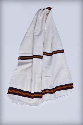 White traditional women scarf with brown tilet