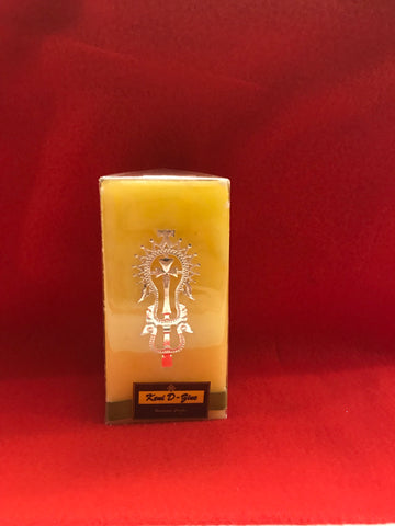 Yellow Candle with Lalibela Silver Cross