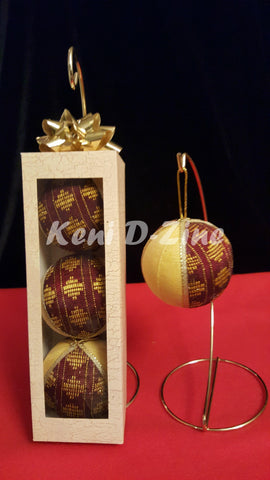 Handmade Ethiopian Inspired Christmas Ornaments - Yellow_Pur Set