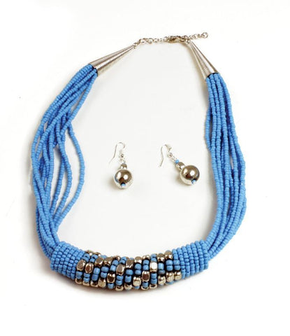 Beaded Barrel Necklace Set: Turquoise