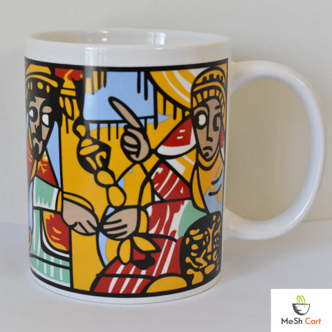 Queen of Sheba Design White Ceramic Mug