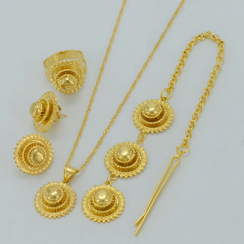 Gold Color Ethiopian Wedding Bride Jewelry sets