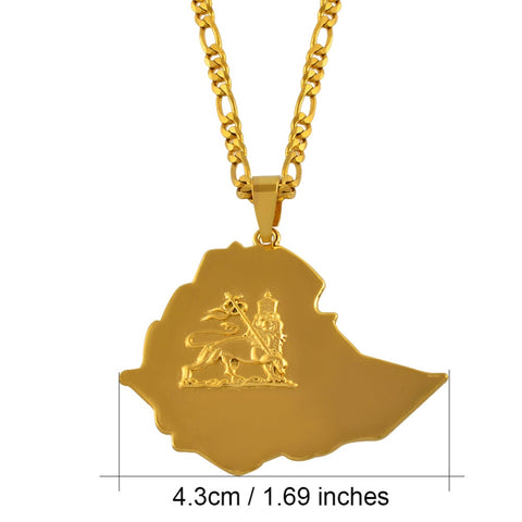 Ethiopian Map Pendant Necklaces Chain