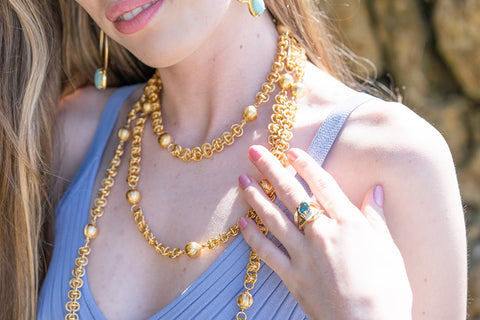 Gold jewelry for summer at Moonlight Beach Encinitas