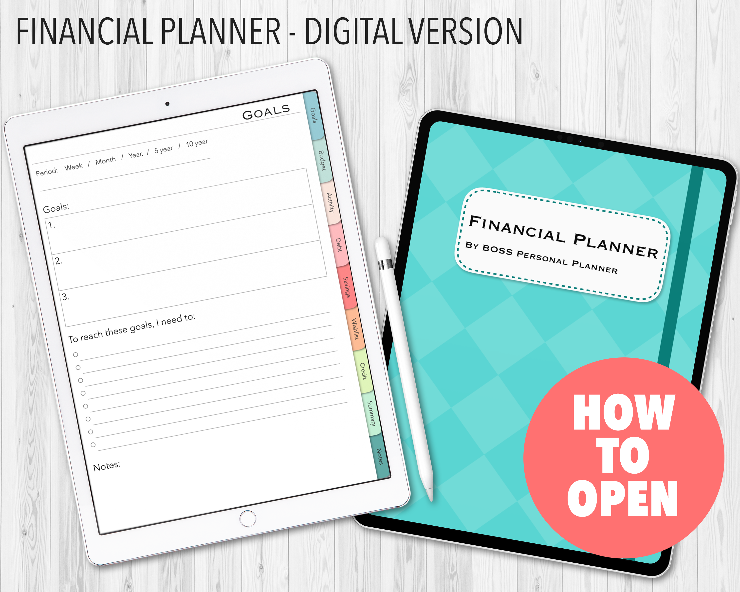 How to open digital financial planner BOSS Personal Planner