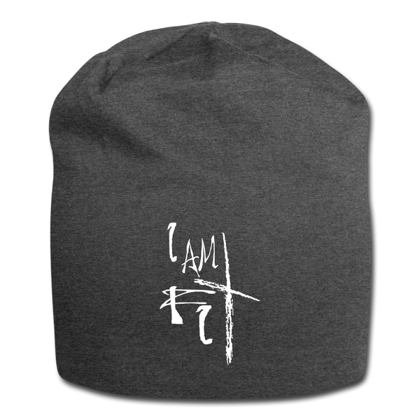 I Am Fit Jersey Beanie - White Logo - Favoured Tees