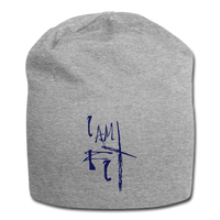 I Am Fit Jersey Beanie - Blue Logo - Favoured Tees