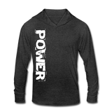 Power & Strength Women's Tri-Blend Hoodie Shirt - White Logo - Favoured Tees