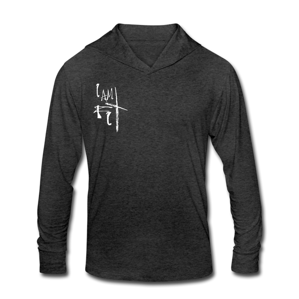 I Am Fit Women's Tri-Blend Hoodie Shirt - White Logo - Favoured Tees