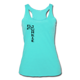 Gym Junkie Women's Tri-Blend Racerback Tank - Black Logo - Favoured Tees