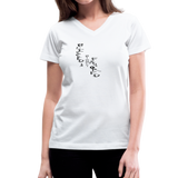 Blessed & Highly Favored Women's V-Neck T-Shirt - Black Logo - Favoured Tees