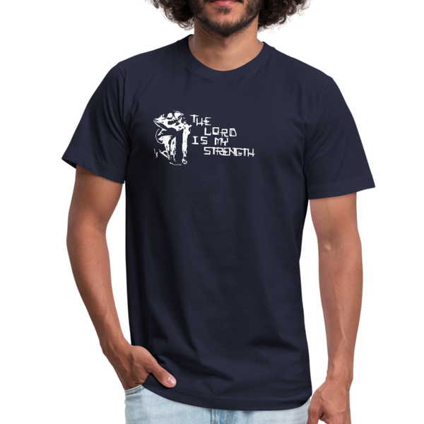 The Lord Is My Strength Jersey T-Shirt - White Logo - Favoured Tees