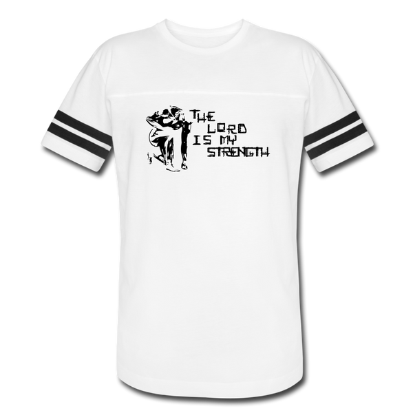 Lord is my Strength Vintage Sport T-Shirt - Black Logo - Favoured Tees