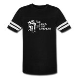 Lord is My Strength Vintage Sport T-Shirt - White Logo - Favoured Tees