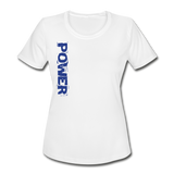 Power & Strength Women's Moisture Wicking Performance T-Shirt - Blue Logo - Favoured Tees