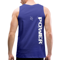Strength & Power Men's Premium Tank - White Logo - Favoured Tees