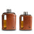 Dark & Tan Leather Glass Flasks 100mL + 240mL
