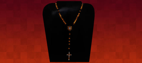 Corded olive wood beads with Pardon Crucifix and Our Lady of the Immaculate Conception centerpiece