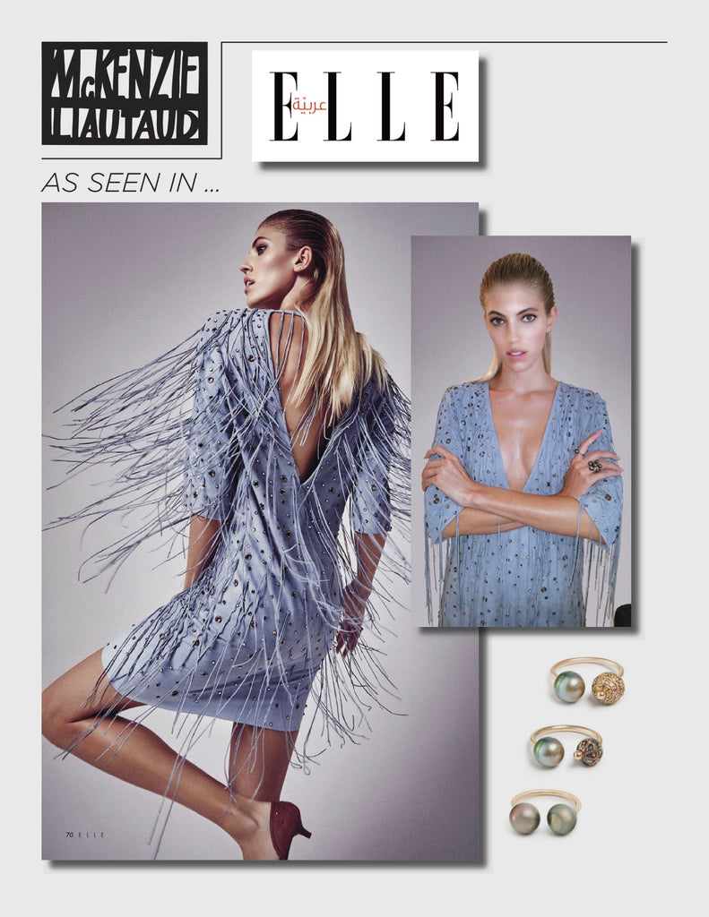 Black Diamonds and Pearls rings seen  in Elle Arabia